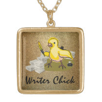 Writer Chick with Paper, Feather Quill and Ink Gold Finish Necklace
