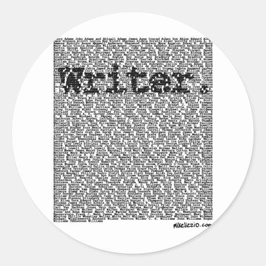 """Writer."" Classic Round Sticker"