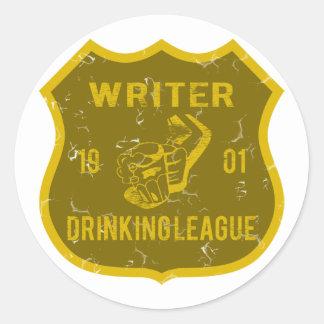 Writer Drinking League Classic Round Sticker