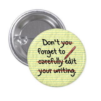 Writer / Editor Editing Reminder Note 1 Inch Round Button