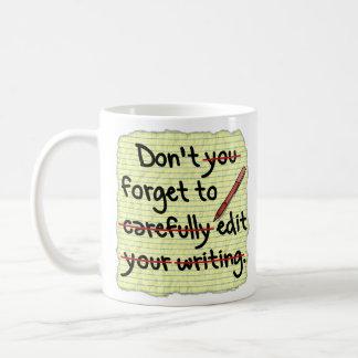 Writer Editor Editing Reminder Note Classic White Coffee Mug