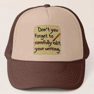 Writer Editor Editing Reminder Note Trucker Hat
