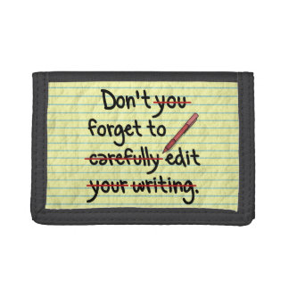 Writer Editor Editing Reminder Note Trifold Wallets