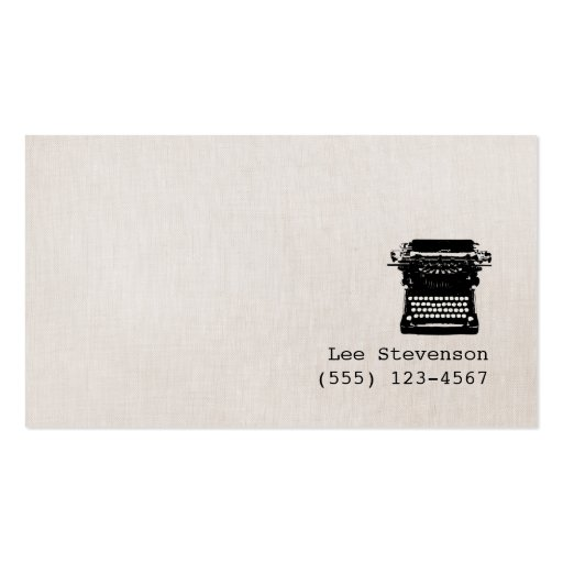 Writer Faux Linen Background Business Card