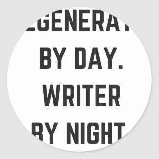 Writer Humor Illustration Night Collection Design Classic Round Sticker
