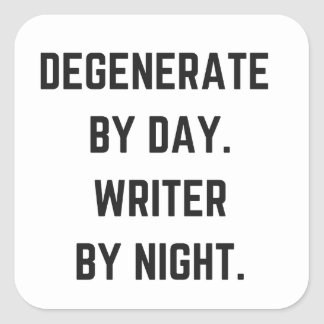 Writer Humor Illustration Night Collection Design Square Sticker