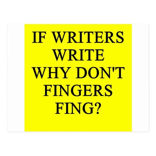writer joke postcard