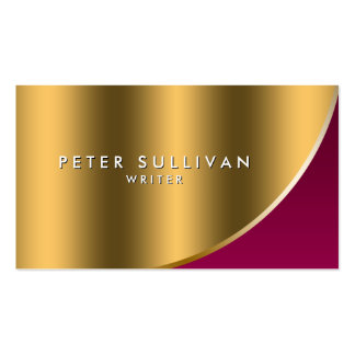 Writer Literary Publishing Elegant Red Gold Curve Business Card