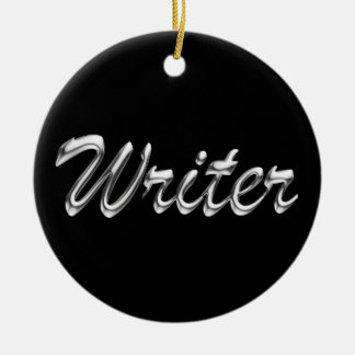 Writer Metallic Looking Script Ceramic Ornament