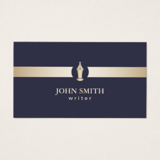 Writer | Navy Blue & Gold Stripe Pen Nib Logo Business Card