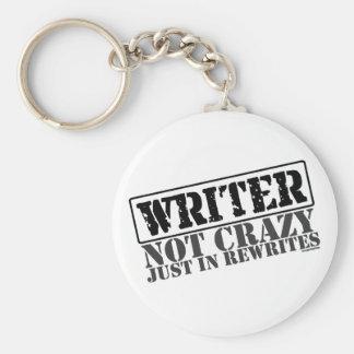 Writer: Not Crazy Just in Rewrites Basic Round Button Keychain