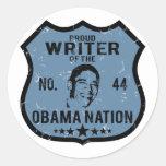 Writer Obama Nation Round Stickers