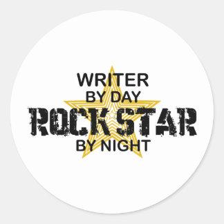 Writer Rock Star by Night Classic Round Sticker