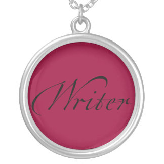 Writer Round Pendant Necklace
