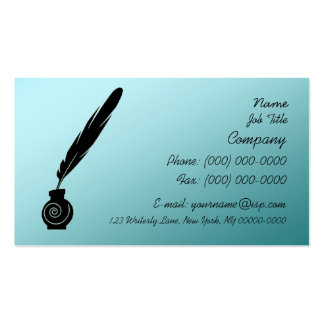 Writer s Quill Ink Profile Card Business Card