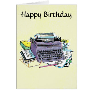 Writer's Tools Typewriter Paper Pencil Birthday Card