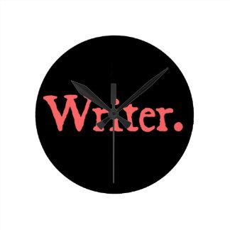 Writer Salmon Text Round Clock