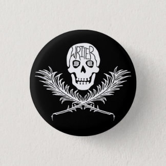 Writer Skull and Crossbones Quills White Button