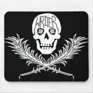 Writer Skull and Crossbones Quills White Mouse Pad