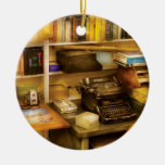 Writer - The desk of a writer Double-Sided Ceramic Round Christmas Ornament
