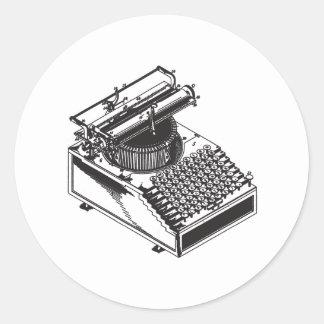 Writer -Type Writing Machine - Typewriter Classic Round Sticker