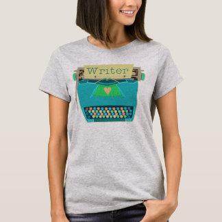 Writer Typewriter Cute Retro Modern Aqua Blue T-Shirt