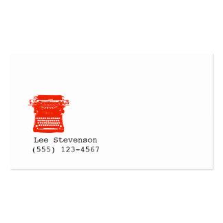 Writer Typewriter Simple White Business Card