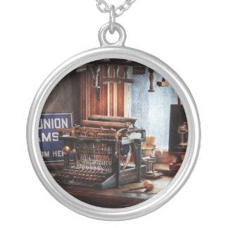 Writer - Typewriter - The aspiring writer Round Pendant Necklace