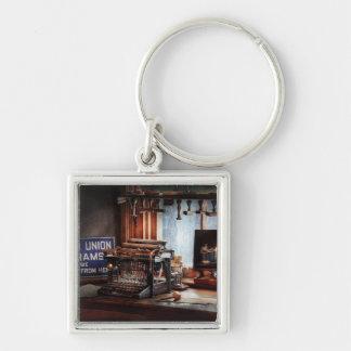 Writer - Typewriter - The aspiring writer Silver-Colored Square Keychain