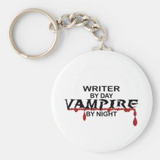 Writer Vampire by Night Basic Round Button Keychain