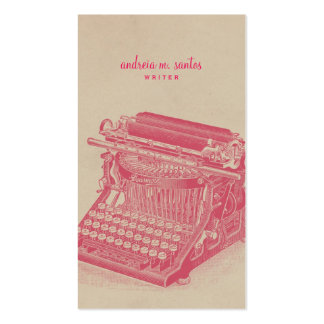 Writer Vintage Typewriter Cool Pink Simple Modern Double-Sided Standard Business Cards (Pack Of 100)