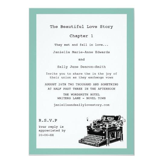 Writer Vintage Typewriter Lesbian Wedding Invitation Zazzle Com