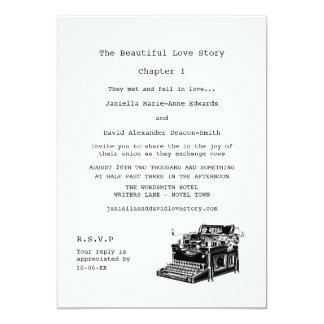 Writer Vintage Typewriter Wedding 5x7 Paper Invitation Card