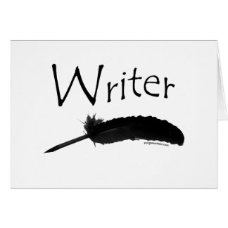 Writer with quill pen card