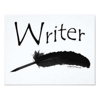 Writer with quill pen 4.25x5.5 paper invitation card