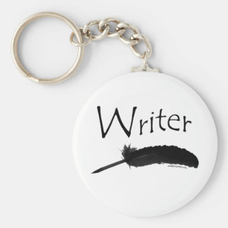 Writer with quill pen keychain