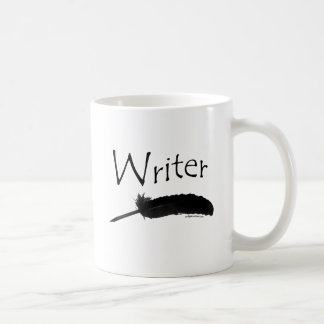 Writer with quill pen classic white coffee mug