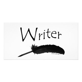 Writer with quill pen personalized photo card