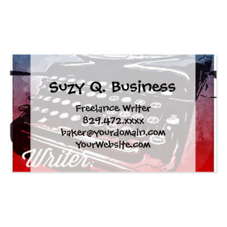 Writer with Typewriter Blue Red Pop Art Business Card