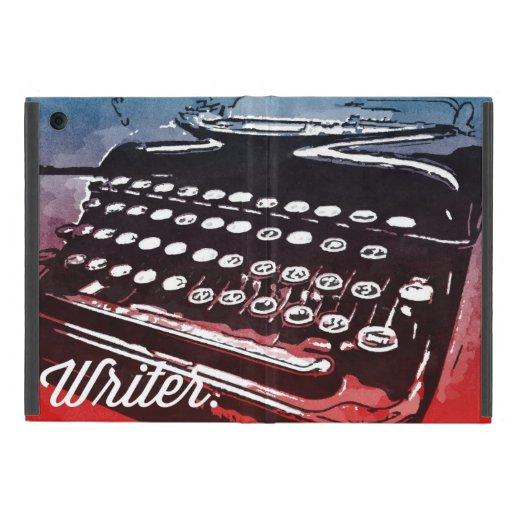 Writer with Typewriter Blue Red Pop Art iPad Mini Cases