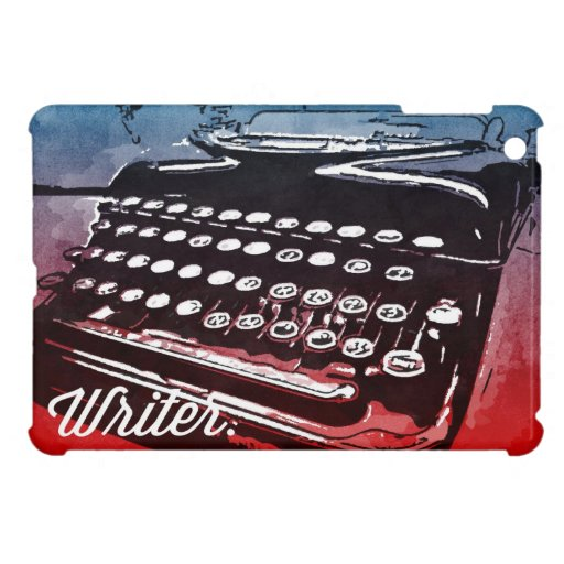 Writer with Typewriter Blue Red Pop Art iPad Mini Cases