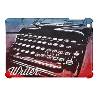 Writer with Typewriter Blue Red Pop Art iPad Mini Covers