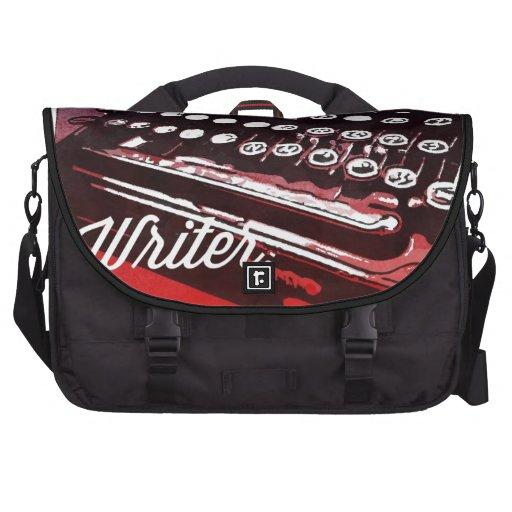 Writer with Typewriter Blue Red Pop Art Laptop Commuter Bag