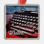 Writer with Typewriter Blue Red Pop Art Metal Ornament