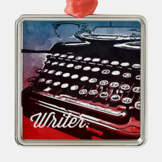 Writer with Typewriter Blue Red Pop Art Metal Ornament