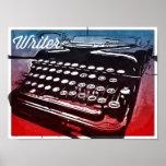 Writer with Typewriter Blue Red Pop Art Poster