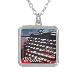 Writer with Typewriter Blue Red Pop Art Square Pendant Necklace