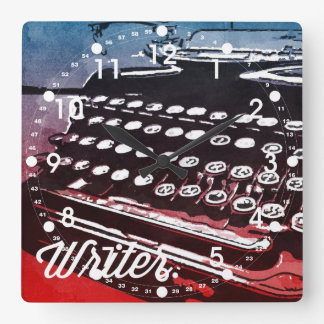 Writer with Typewriter Blue Red Pop Art Square Wall Clock
