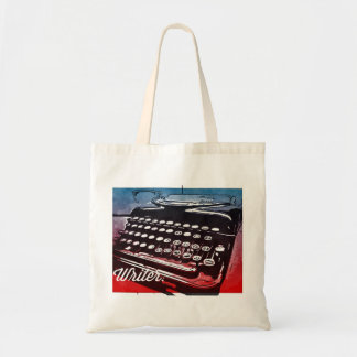 Writer with Typewriter Blue Red Pop Art Tote Bag
