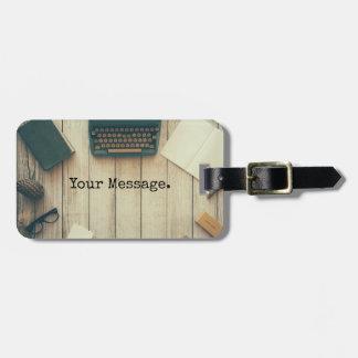 Writer writing desk retro typewriter bag tag